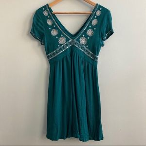 Hollister Teal Sequin Embroidered Party Dress Sz S